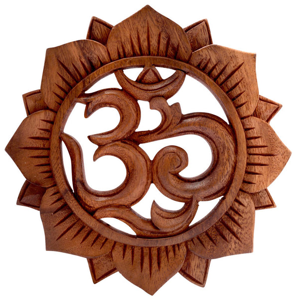 Om & Lotus Wooden Plaque