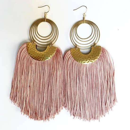 Baby Pink Tapestry Earrings