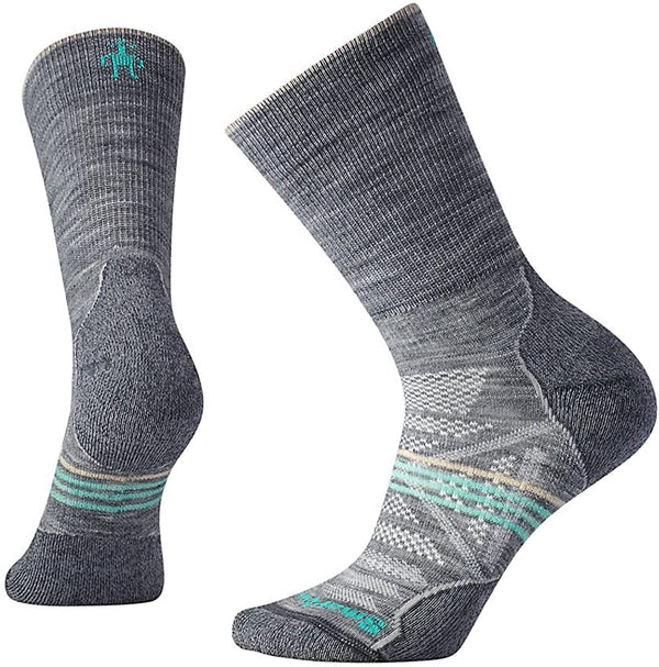 Women's Light Gray PhD Outdoor Light Hiking Crew Socks