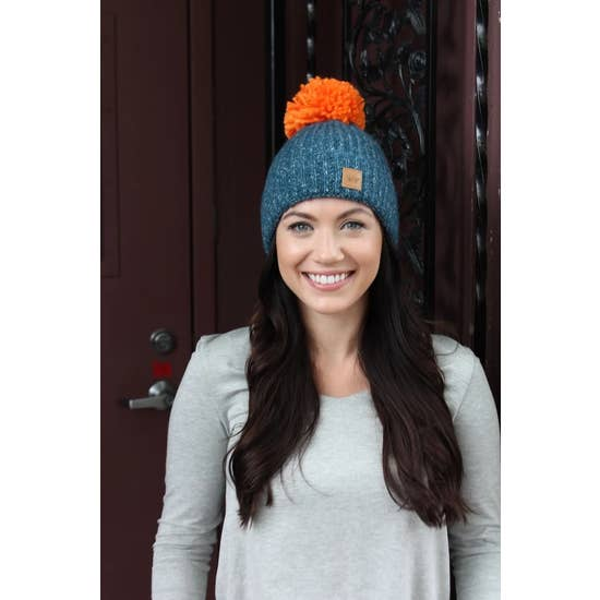 Blue Fleece-Lined Hat w/ Pom Accent