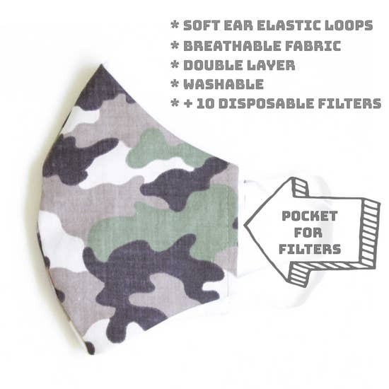 Camo Face Mask With Filters