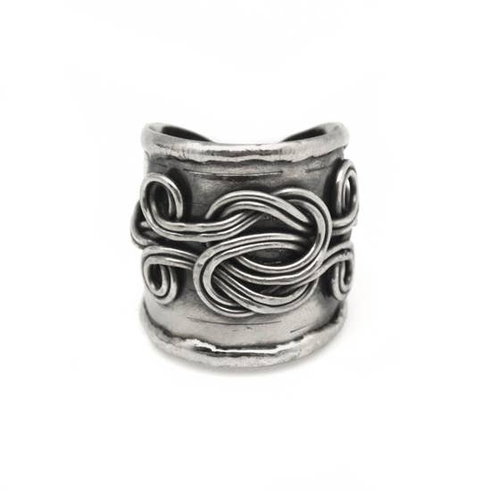 Antique Silver Double Knot Braided Cuff Ring