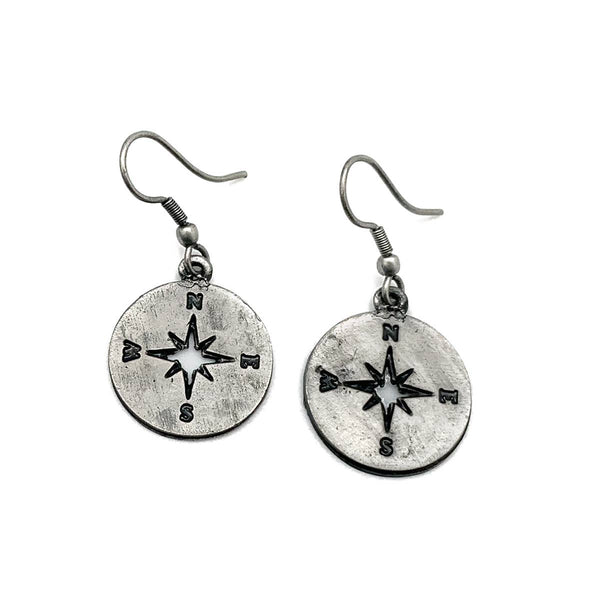 Pewter Earrings - Compass