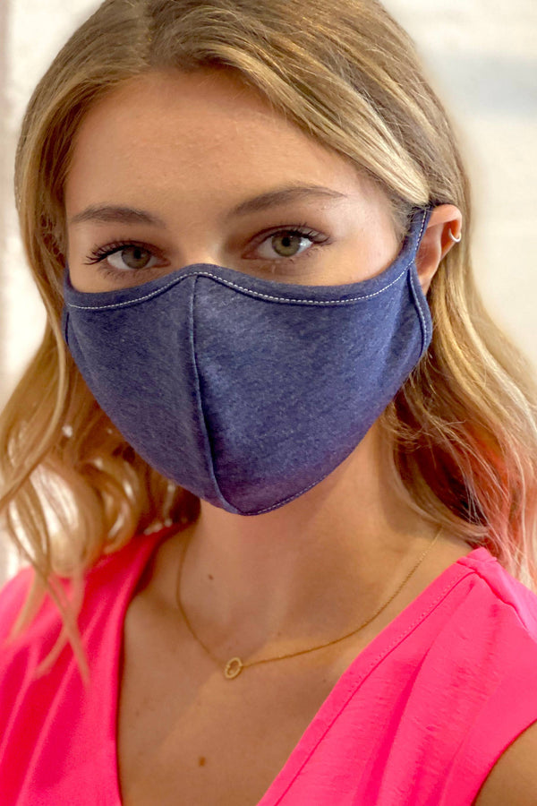 0.5 Double Layered 100% Cotton Face Mask Navy