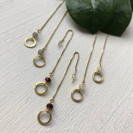 Garnet Brass Chain Threader Earrings