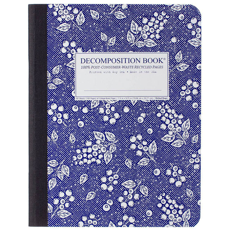 Decomposition Book Blueberry Large College Ruled 100% Recycled Notebook