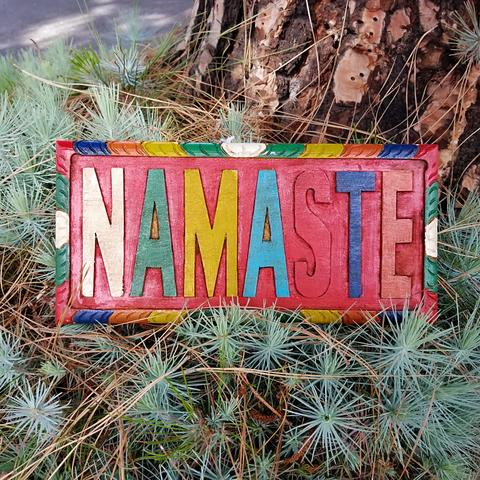 Namaste Hand Carved Wooden Sign