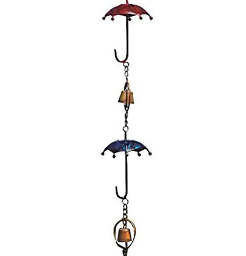 Ancient Graffiti Multicolor Umbrella and Bell Rain Chain