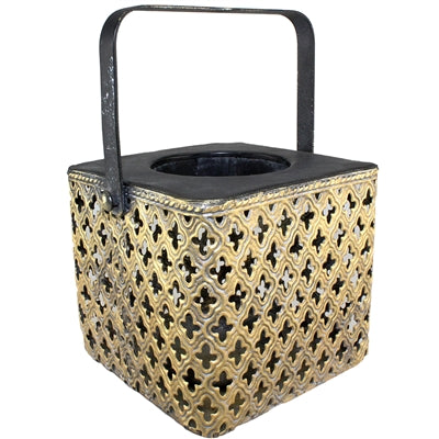 SHADIRA BLACK & GOLD METAL LANTERN