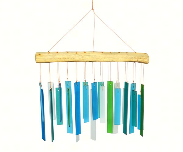 Blue Green Driftwood Glass Chime