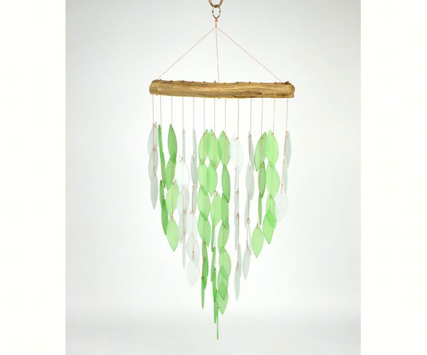 Green Waterfall Wind Chime w/ Driftwood