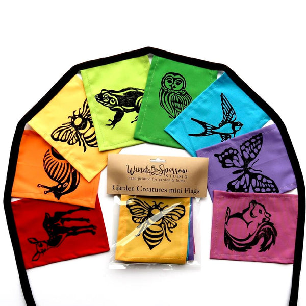 Wind Sparrow Rainbow Garden Creatures Indoor/Outdoor Flags