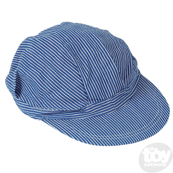 Kids Blue and White Striped Engineer Hat