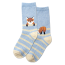 Kid's Fox Stripe Crew Socks (Blue Heather)