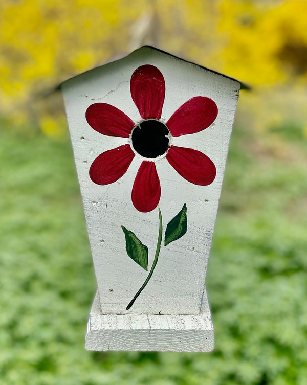 Rustic Birdhouse with Painted Flower Birdhouse (Made in Pennsylvania)