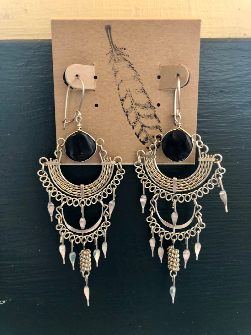 Stone Chainmail Earrings