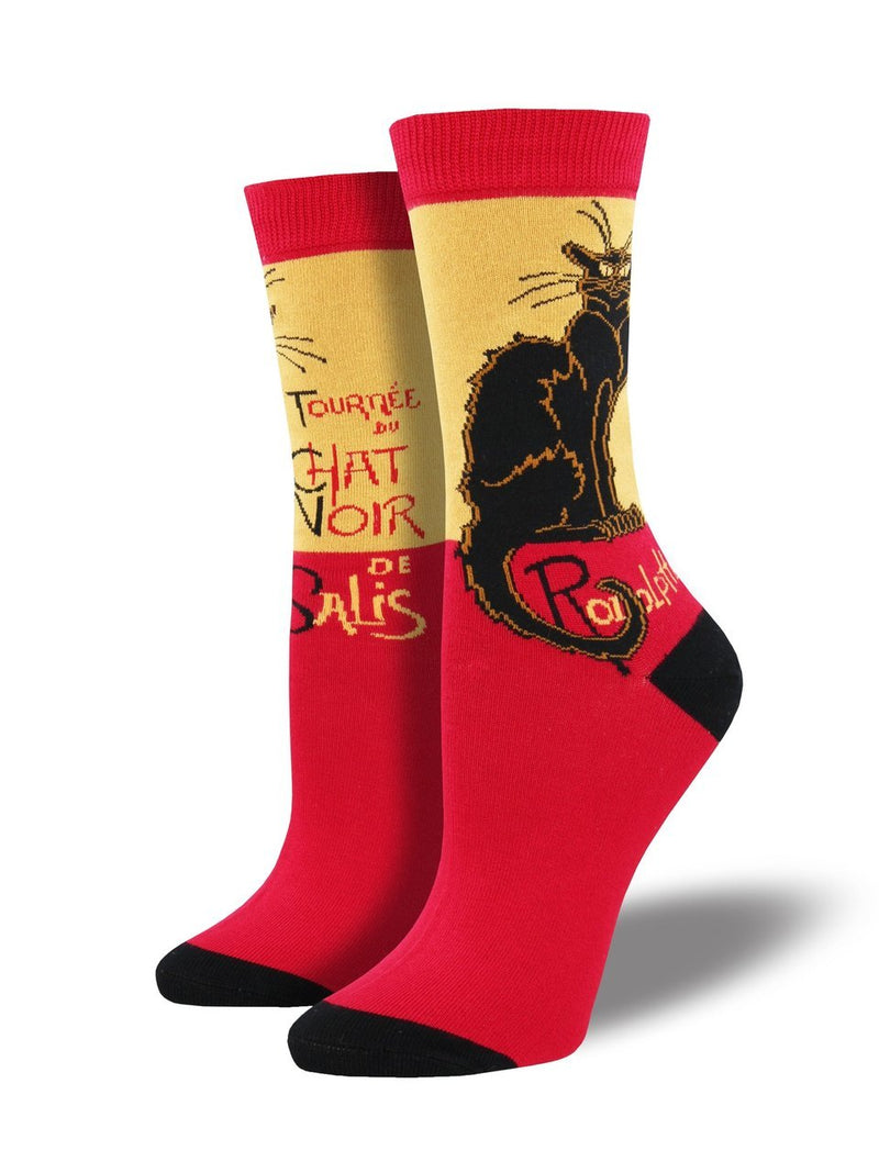 WOMEN'S LE CHAT NOIR - RED/YELLOW SOCKS