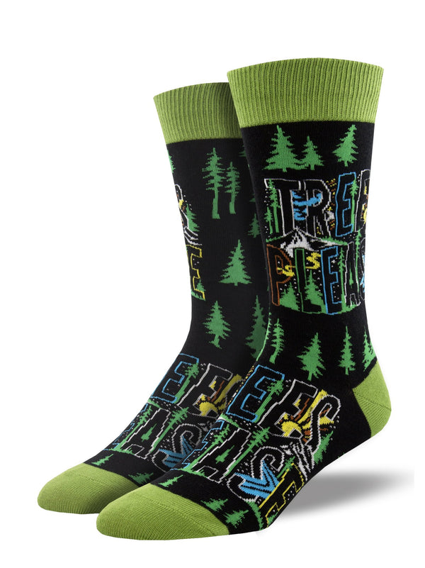 Trees Please Mens Black Socks