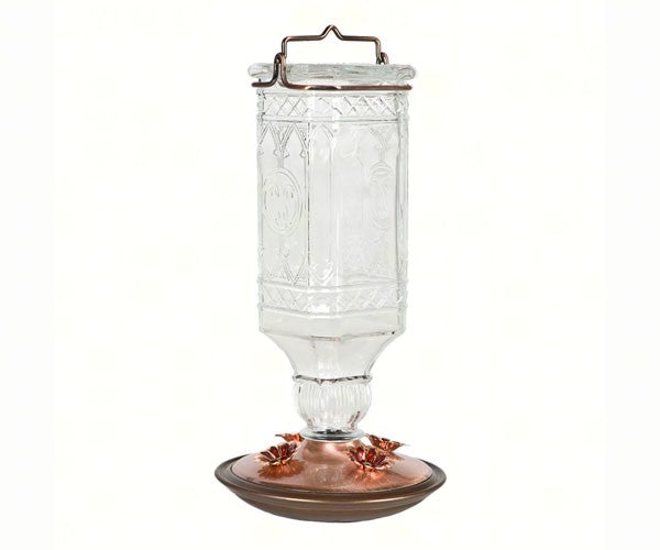 Clear Antique Glass Hummingbird Feeder 24 oz