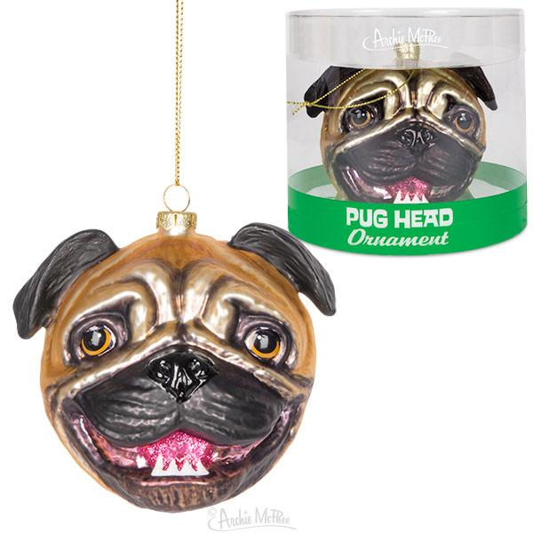 Pug Head Glass Ornament