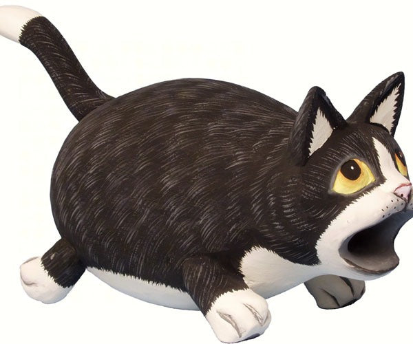 Big Mouth Black & White Cat Bird House