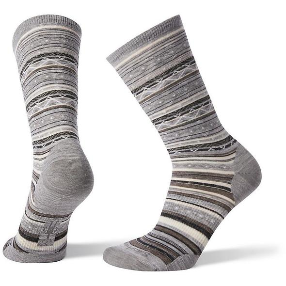 Women's Light Gray/Black Ethno Graphic Crew Socks