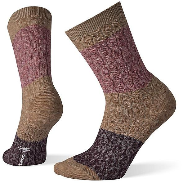 Women's Fossil Color Block Cable Crew Socks