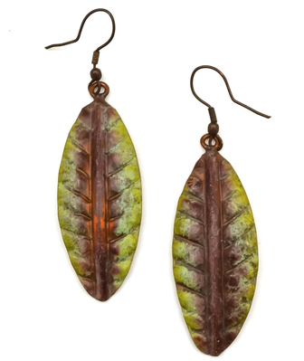 Copper Purple Patina Earrings