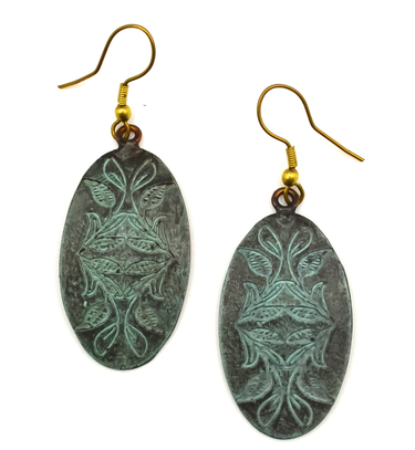 Copper Patina Design Earrings