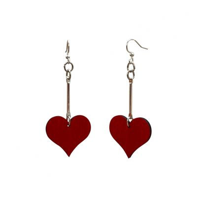 Simple Dangle Heart Wood Earrings