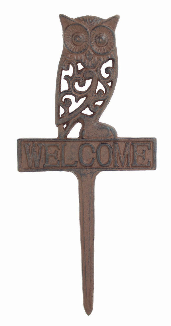 Cast Iron Owl Yard Welcome Sign