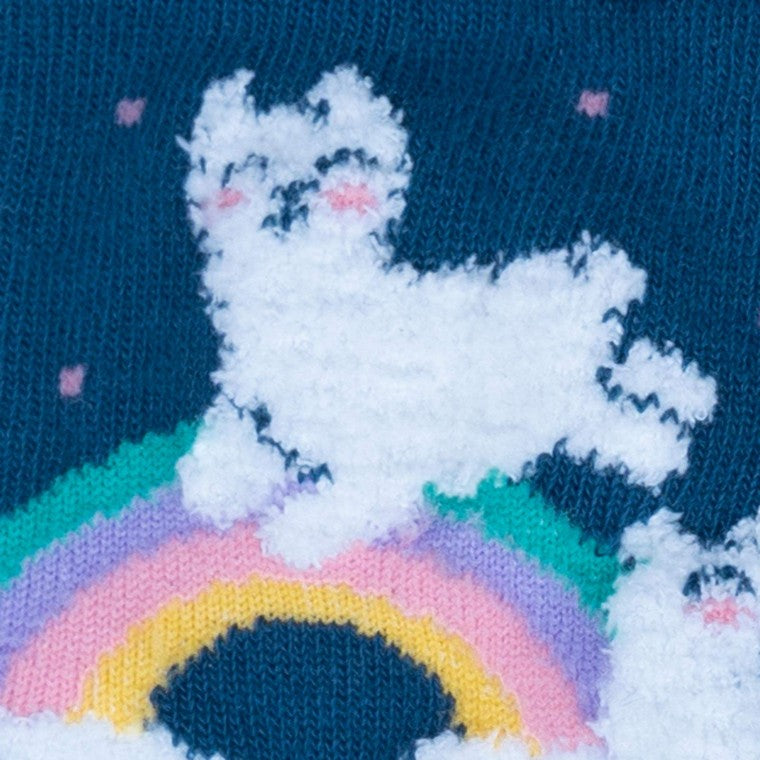 Youth Llam- Where Over the Rainbow Fuzzy Socks