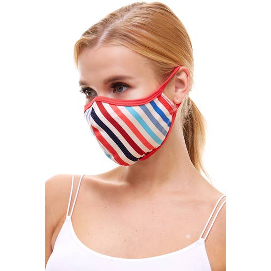 Multi stripe fashion reusable fabric cloth face masks