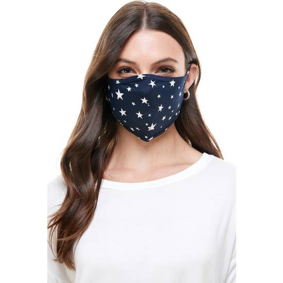 Fashion Reusable Face Mask Navy Star