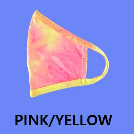 Pink Yellow Tie Dye Kids Face Mask Reusable