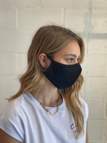 0.5 Double Layered 100% Cotton Face Mask Black