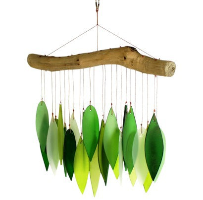 Driftwood Wind Chime Green Leaves