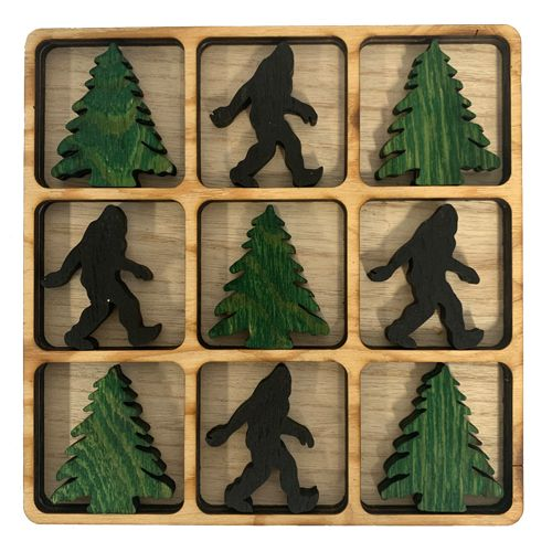 Wood Bigfoot & Pinetree Tic-Tac-Toe