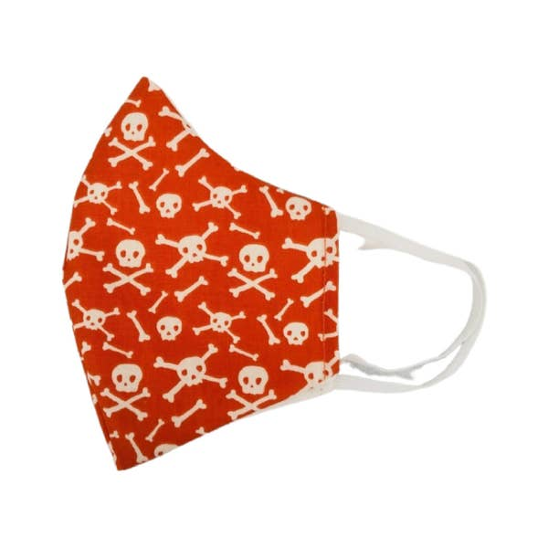 Orange Pirate Kids Face Mask Small