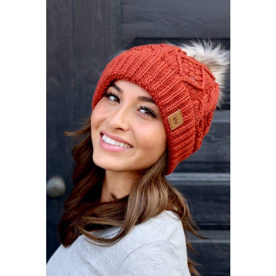 Orange Cable Knit Hat w/ Pom Accent