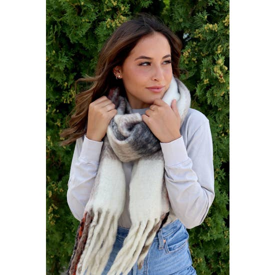 Soft Plaid Scarf Cream