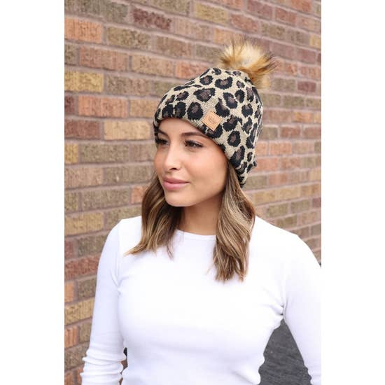 Leopard Knit Hat w/ Pom Accent