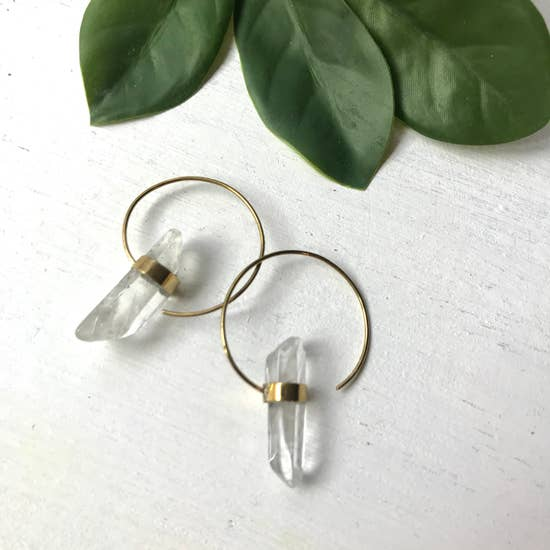 Brass Loop Earrings with Crystal Quartz