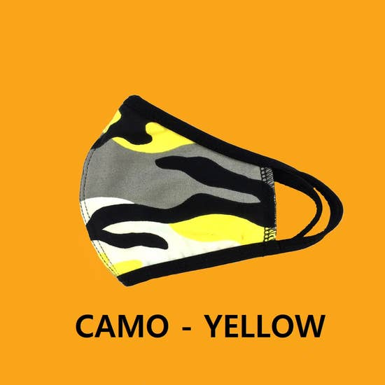 Camo Yellow Kids Face Mask Reusable