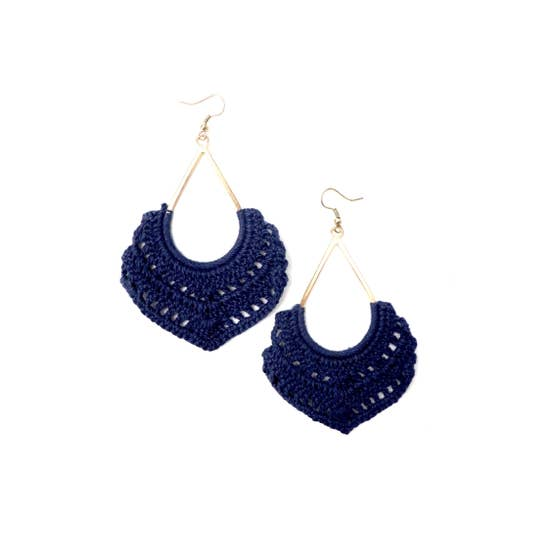 Crochet Dangle Earrings Navy