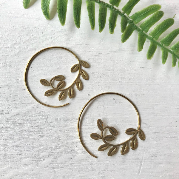 Brass Little Leaf Spiral Earrings