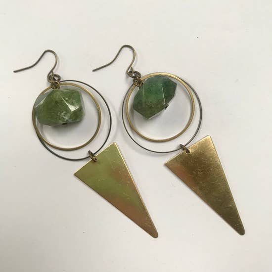 Faceted Moss Jade Circle + Dagger Earrings