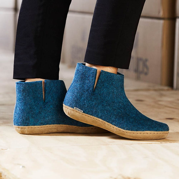 Glerups Wool Boot Leather Sole
