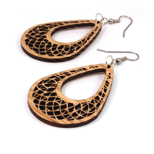 Teardrop Dreamcatcher Wooden Hook Earrings in Oak