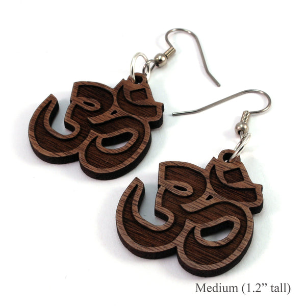 Om Symbol Wooden Earrings